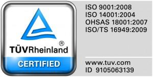 ISO 9001:2008  Cert No: 01 100 117281  ISO/TS 16949 : 2009  Cert No: 01 111 117281/01  Cert No: 01 111 117281/02